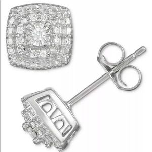 Sterling Silver Diamond Cushion Pave Earrings $200